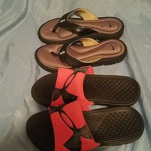 Two pairs of sandals Under Armour and Nike